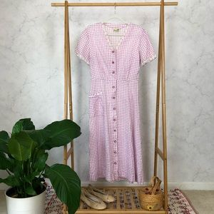 Vintage 40s Purple Checked Lace Midi Shirt Dress